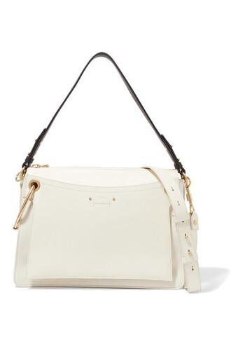 bag shoulder bag leather suede cream