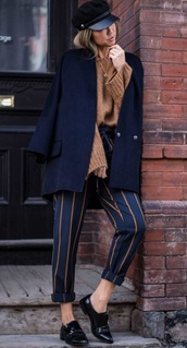 pants,navy,stripes,fall colors,zara,fall outfits,high waisted pants,striped pants,patent shoes,black shoes,navy coat,knitted sweater,beret