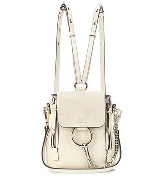 mini backpack suede backpack leather suede white bag