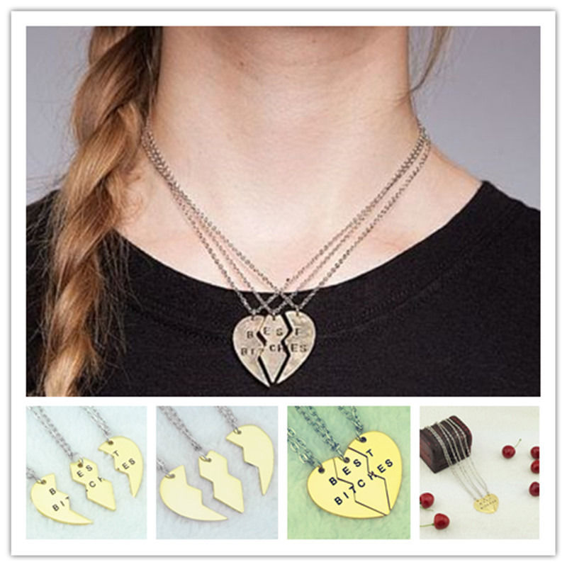 Piece love break heart good sister pendent necklace
