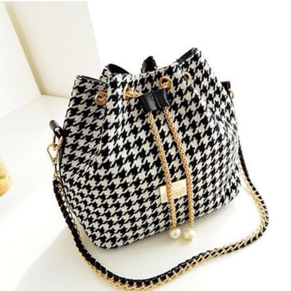 bag black and white shoulder bag purse designer bucket bag