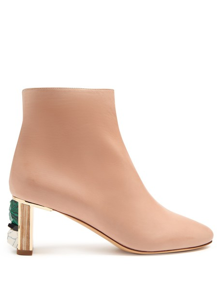 Gabriela Hearst leather ankle boots embellished ankle boots leather light pink light pink shoes