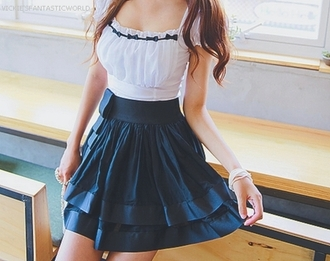 dress white skirt girl black cute dress clothes cute fashion teenagers japanese blue frill one piece bow ermyeah blue dress white dress ocean light blue dresses prom dress traditional modern twist traditional cross pendant bow dress jewels gyaru ulzzang kawaii blue white