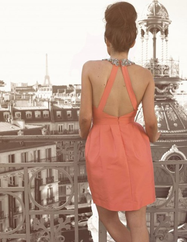 dress peach dress peach cute cute dress lovely brunette details cut-out cut-out open back open backed dress blouse
