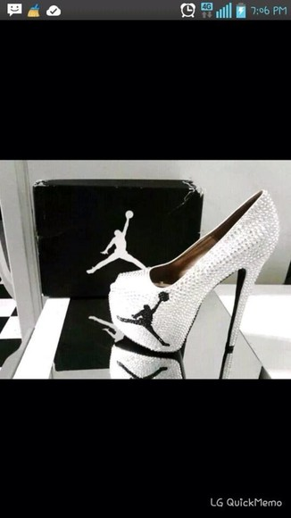 white black sparkling shoes jordans high heels authentic air jordans womens jordan black and white rhinestone heels