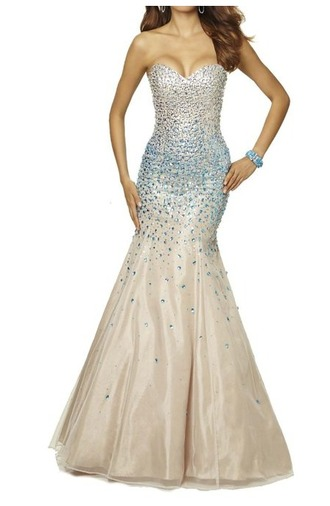 dress strapless beaes beaded gemstone mermaid prom dress prom dress prom long dress