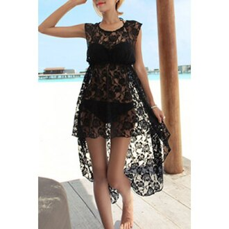 dress lace black summer beach asymmetrical sexy trendsgal.com