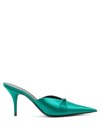 mules dark green shoes