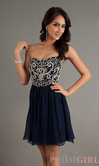 Strapless Homecoming Dress, Sean Short Beaded Blue Dress-PromGirl