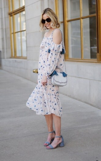 straight a style blogger dress shoes bag mid heel sandals sandals midi dress white bag spring outfits