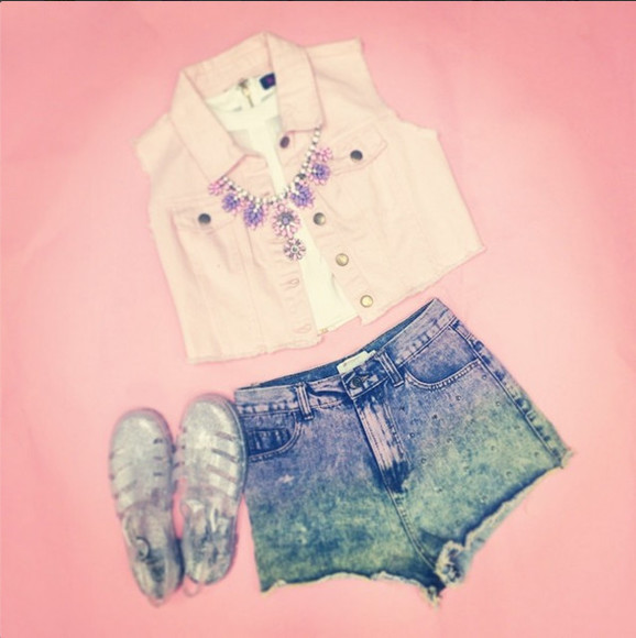 Belt studs dip dye dip dye shorts studded shorts Pop Couture jewels