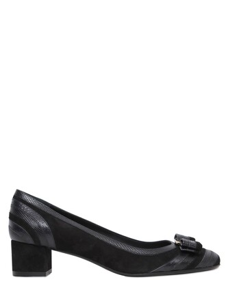 pumps leather suede black shoes
