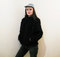 Black faux fur minimalist bomber jacket size small