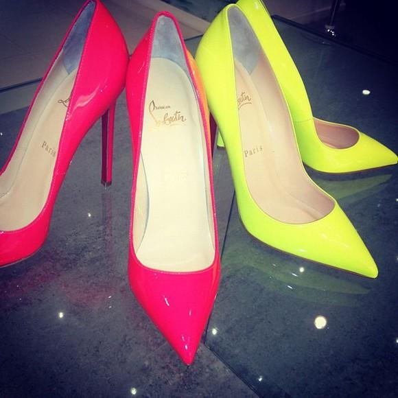 shoes paris pointed toe christian louboutin louboutins high heels red bottoms red bottom heels celebrity shoes neon neon shoes pointed toe heels yellow pink giuseppe zanotti jimmy choo