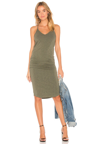 dress back v neck green