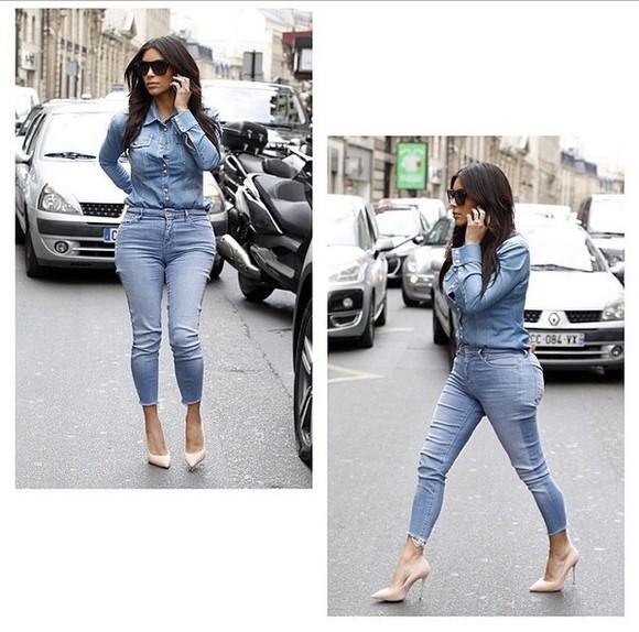 jeans denim shirt denim top kim kardashian