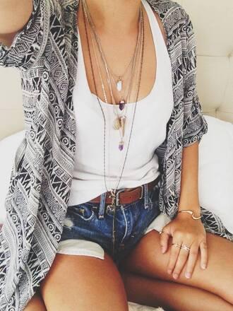 cardigan necklace denim white jewels