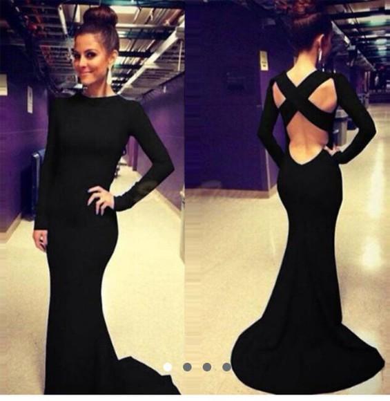 cross back maxi high neck long sleeves floor length little black dress gown evening dress