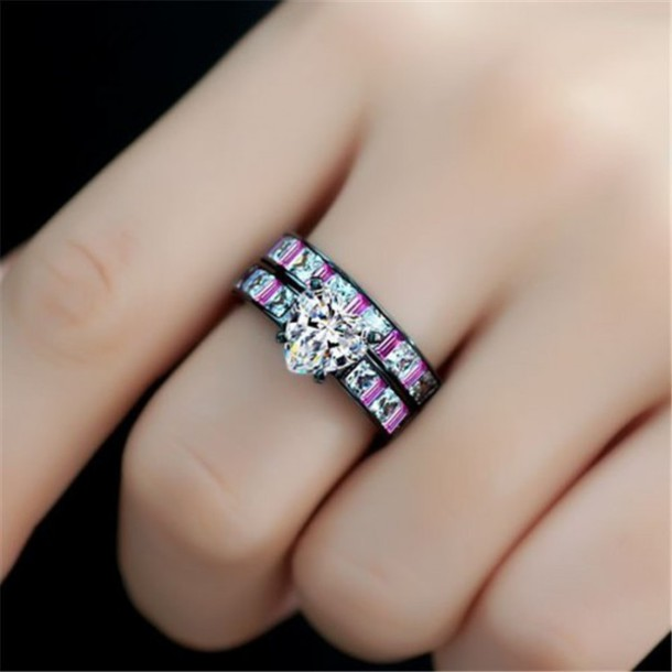 jewels fashion rings evoleescom 15ct heart shaped diamond wedding ring set with pink - Pink And Black Wedding Rings