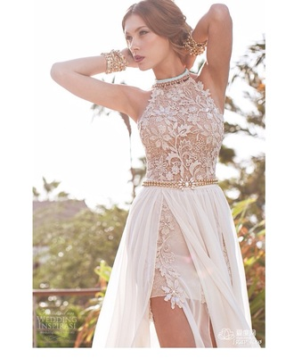 dress high neck ivory ivory-champagne color  lace   flowers with leg out and satin material