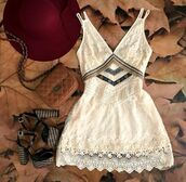dress,boho,boho chic,bohemian dress,bohemian,festival,lace,lace dress,white lace dress,white dress,embroidered,embroidered dress,cute dress,summer dress,fashion,tumblr outfit,romantic summer dress,romantic dress,vintage,vintage dress,cream,white,cream dress,chevron,strappy,style,short dress,homecoming dress,prom dress,flowers