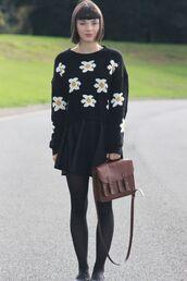 sweater,romwe,jumper,black,daisy
