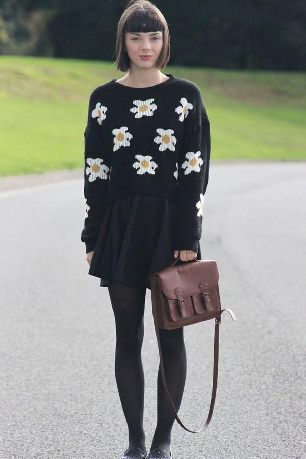 sweater romwe jumper black daisy