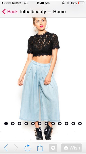 pants denim pants denim high pan fashion culottes