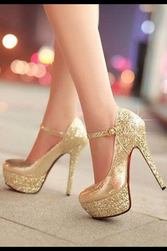shoes platform shoes mary jane red bottoms gold sparkles glitter shoes