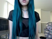 t-shirt,black,crop tops,blue hair,sexy,hipster,hippie,shirt,top,grunge,skirt,mesh,see through,black mesh,cute,punk,bralette,bra,choker necklace,pale skin,transparent,pop punk,grunge t-shirt,mesh top,tank top,clothes,classy,hair dye