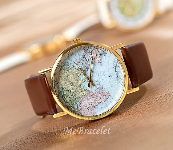 World map watch watch mans watches woman watches by mebracelet