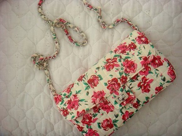 floral flowers cute bag summer pink pretty sholder bag