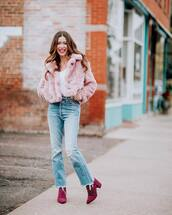 coat,jeans,boots,faux fur,faux fur jacket,pink jacket,ripped jeans,light blue jeans