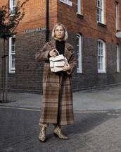 bag,handbag,leather bag,mini bag,coat,long coat,checkered,wool coat,ankle boots,snake print ankle boots,wide-leg pants,black sweater