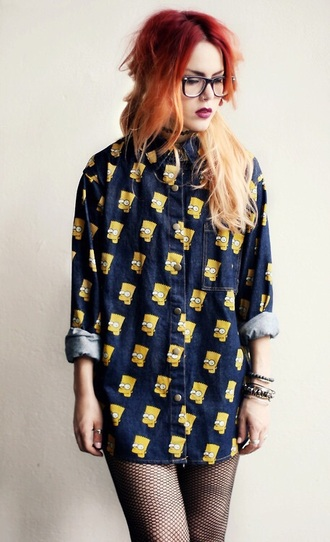 blouse navy the simpsons bart simpson shirt bart simpson yellow