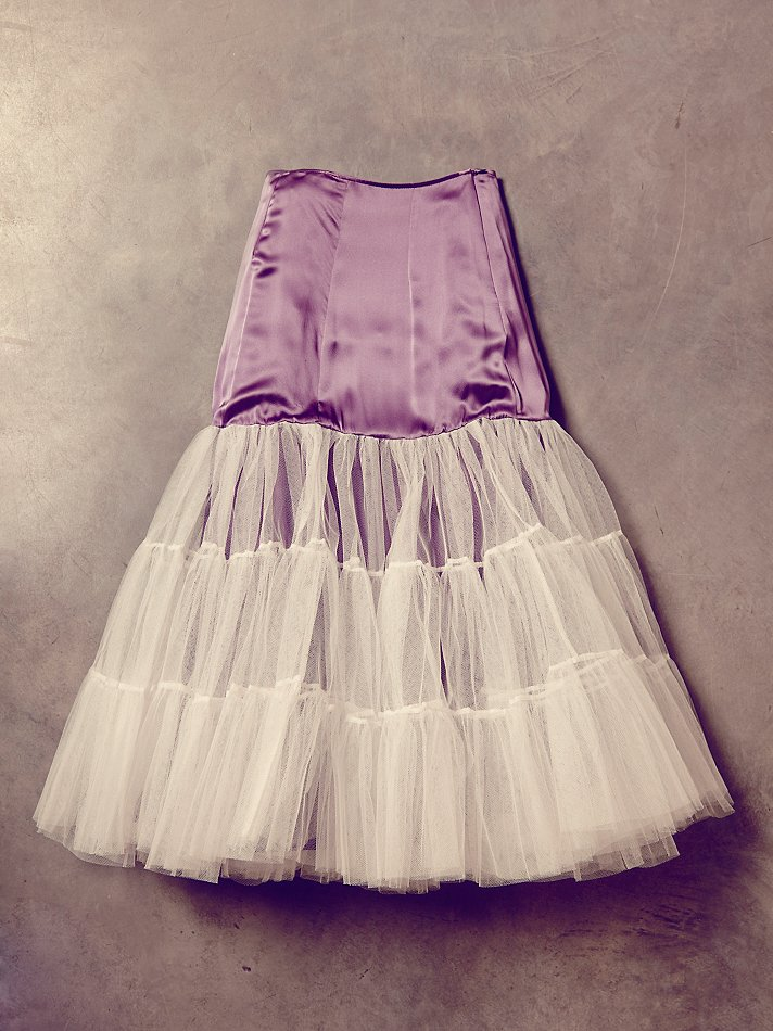 free people womens vintage satin and tulle skirt