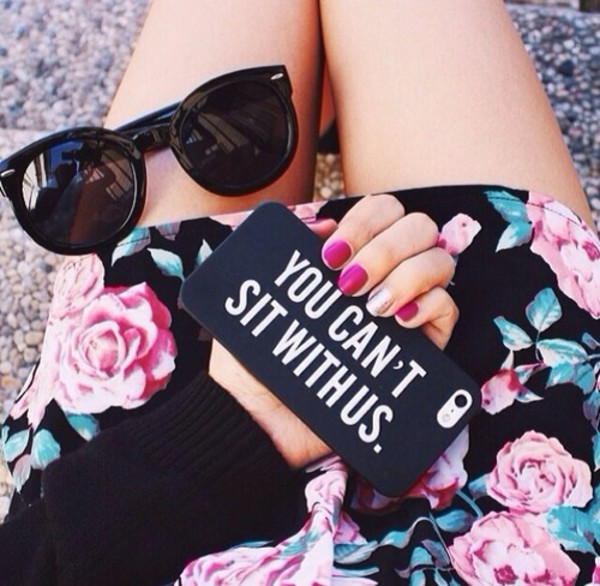 jewels iphone 4 case phone cover phone cover quote on it skirt roses rose floral floral skirt sunglasses black black sunglasses black sunglasses cute girly iphone iphone 5 case iphone 5s iphone 5 case pink iphone case sunglasse summer