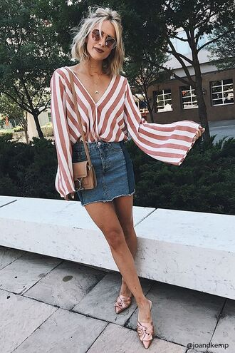 skirt denim mini skirt forever 21 skirt striped top pink shoes forever 21 aviator sunglasses