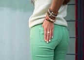 jeans,mint green jeans,mint,white sweater,sweater,ring,silver ring,bracelets,jewels