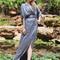 Boho dress - grey silk flowy gown
