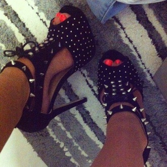 shoes black high heels spiked shoes spikes peep toe heels open toes