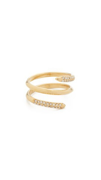 Rebecca Minkoff clear ring gold jewels