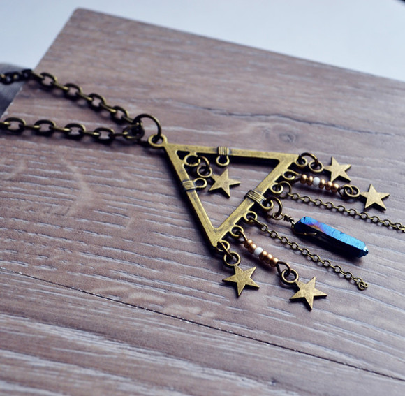 triangle jewels prism boho necklace quartz point stars cool beaded gifts gift girls long necklace hot fashion