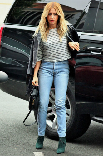 top jeans stripes ashley tisdale denim ankle boots jacket fringes