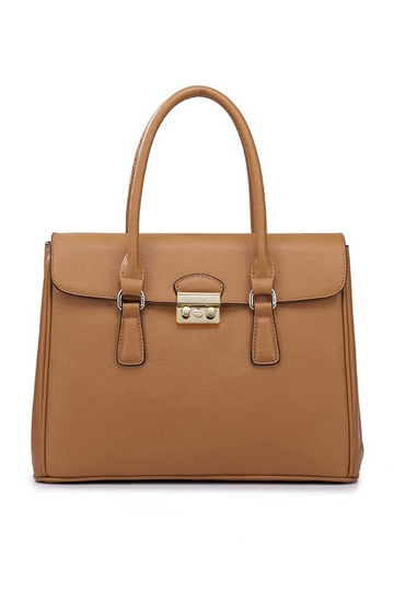 British Style Cross Grain Cowhide Leathe Handbag In Brown [FPB699] - PersunMall.com