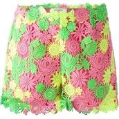 shorts,colourful bright rainbow flower crochet shorts