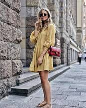 dress,short dress,yellow dress,bag,hoes,shoes,slide shoes,sunglasses