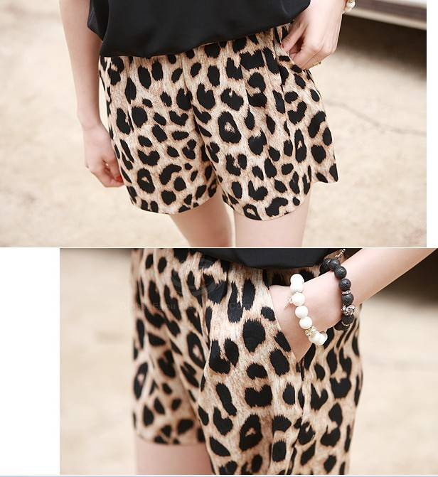 Wild style leopard print casual shorts for women