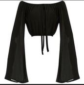 blouse,cute,long sleeve crop top,bold,sleves,long sleeves,crop tops