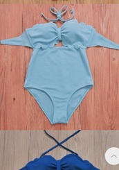 swimwear,girly,girly wishlist,blue,one piece,one piece swimsuit,scalloped